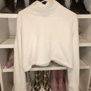 Jluxlabel Fuzzy High Neck Crop Sweater